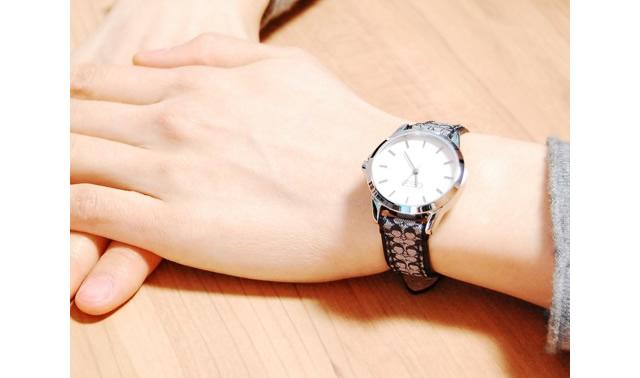 コーチ 革ベルト腕時計