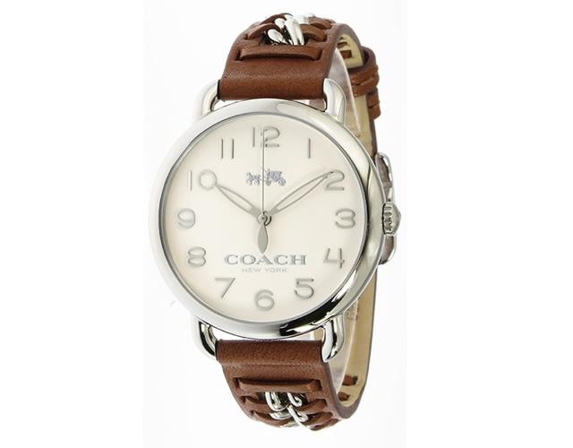 コーチ デランシーの革ベルト腕時計