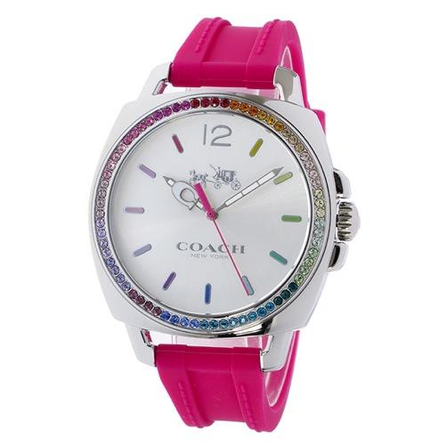 コーチ ボーイフレンド ラインストーンベゼル クオーツ レディース 腕時計 14502529 ピンク