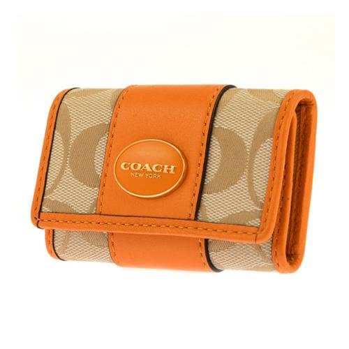 コーチ COACH 6連キーケース レディース 48662/B4BTX ベージュ/オレンジ