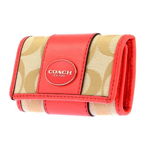 コーチ COACH 6連キーケース レディース 48662/SVB3V ベージュ/ピンク