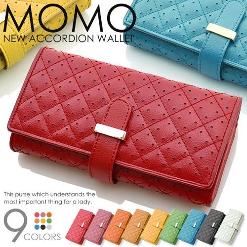 モモ MOMO アコーディオン型 レディース 長財布 AN-269-WH ホワイト