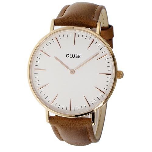 クルース ラ・ボエーム レザーベルト 38mm レディース 腕時計 CL18011 ホワイト/キャメル