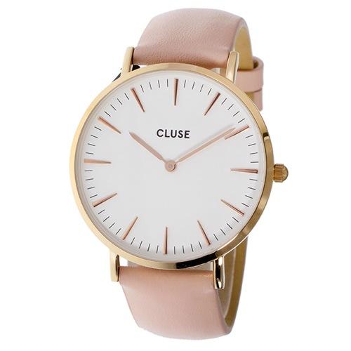 クルース ラ・ボエーム レザーベルト 38mm レディース 腕時計 CL18014 ホワイト/ピンク