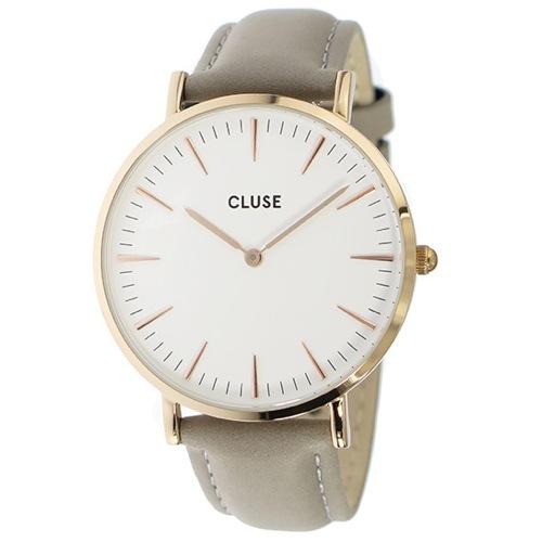 クルース ラ・ボエーム レザーベルト 38mm レディース 腕時計 CL18015 ホワイト/グレー