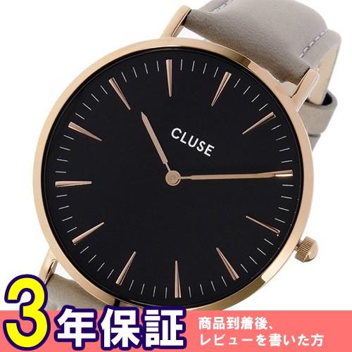 クルース ラ・ボエーム レザーベルト 38mm レディース 腕時計 CL18018 ブラック/グレー