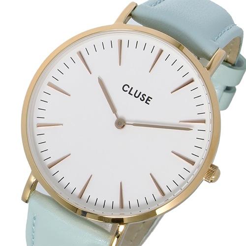 クルース CLUSE ラ・ボエーム レザーベルト 38mm レディース 腕時計 CL18021 ホワイト/パステルミント