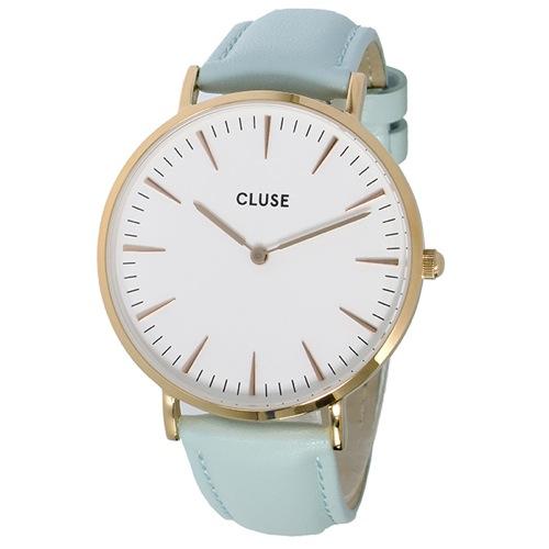 クルース ラ・ボエーム レザーベルト 38mm レディース 腕時計 CL18021 ホワイト/パステルミント