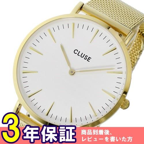 クルース ラ・ボエーム メッシュベルト 38mm レディース 腕時計 CL18109 ホワイト/ゴールド
