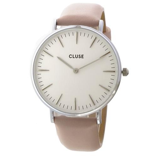 クルース ラ・ボエーム レザーベルト 38mm クオーツ レディース 腕時計 CL18214 ホワイト/ピンク