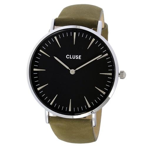 クルース ラ・ボエーム レザーベルト 38mm レディース 腕時計 CL18228 ブラック/オリーブグリーン