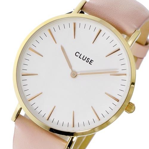 クルース CLUSE ラ・ボエーム レザーベルト 38mm レディース 腕時計 CL18410 ホワイト/パステルピンク