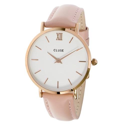 クルース ミニュイ レザーベルト 33mm レディース 腕時計 CL30001 ホワイト/ピンク