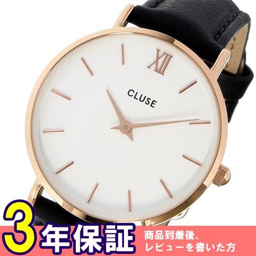 クルース ミニュイ レザーベルト 33mm レディース 腕時計 CL30003 ホワイト/ブラック