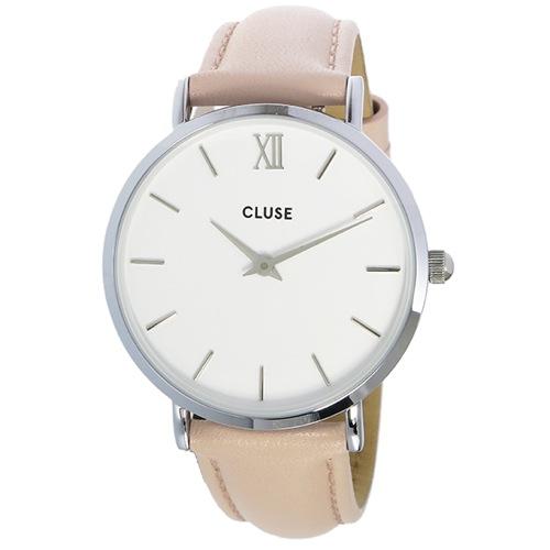 クルース ミニュイ レザーベルト 33mm レディース 腕時計 CL30005 ホワイト/パステルピンク