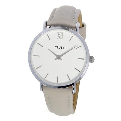 クルース ミニュイ レザーベルト 33mm レディース 腕時計 CL30006 ホワイト/グレー