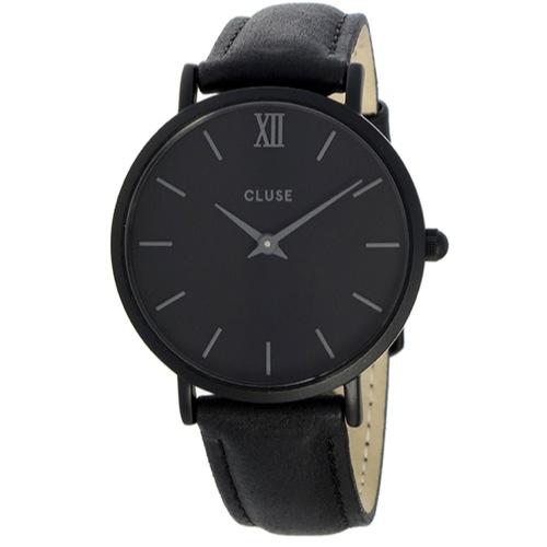 クルース ミニュイ レザーベルト 33mm レディース 腕時計 CL30008 フルブラック
