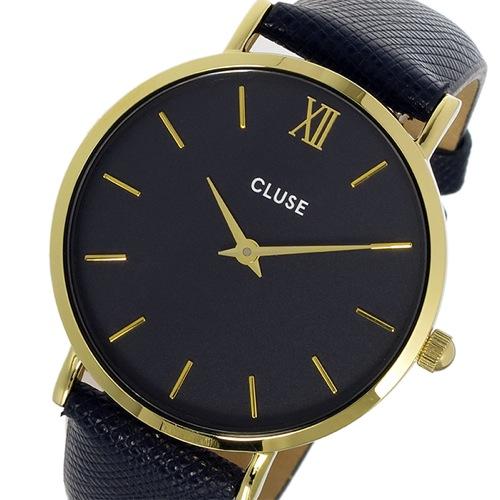 クルース CLUSE ミニュイ レザーベルト 33mm レディース 腕時計 CL30014 ブラック/ネイビー
