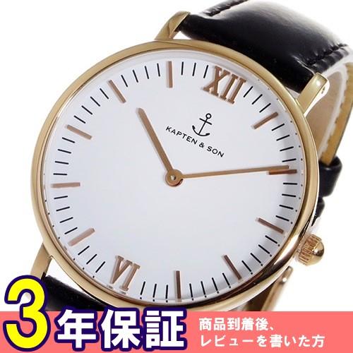 キャプテン&サン 36mm クオーツ レディース 腕時計 GD-KS36WHBKL ホワイト/ピンクゴールド