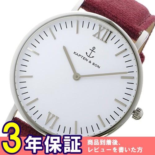キャプテン&サン 40mm ホワイト/ボルドーキャンバス レディース 腕時計 SV-KS40WHBC