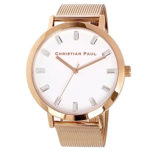クリスチャンポール 43mm WHITEHAVEN LUXE MESH ユニセックス 腕時計 SWM-02 ホワイト